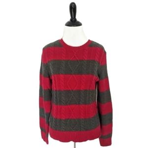 Chaps red & grey cable knit crew neck sweater